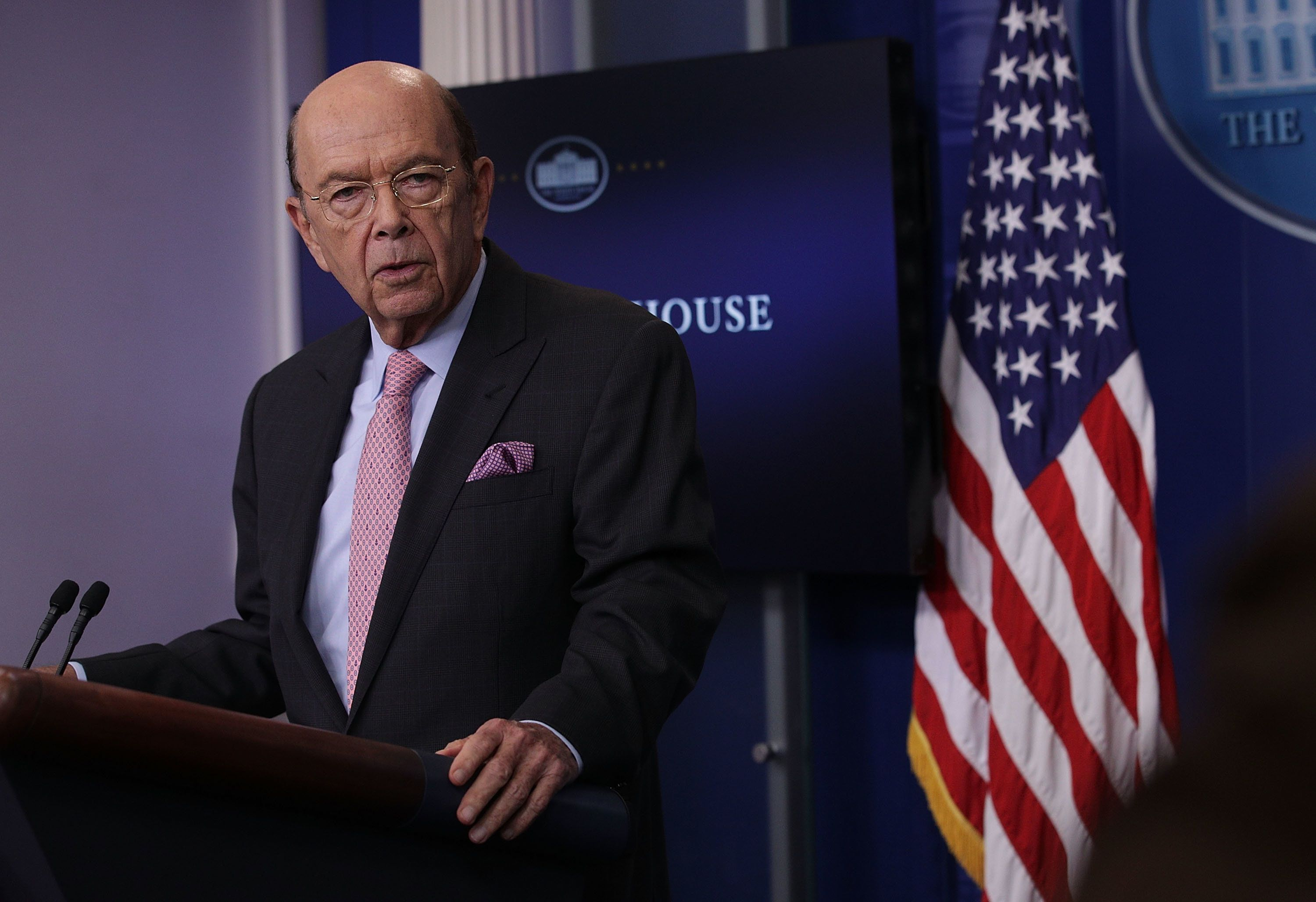 WASHINGTON, DC - APRIL 25:  U.S. Secretary of Commerce Wilbur Ross discusses the new U.S. tariff on Canadian softwood lumber during the White House daily briefing at the James Brady Press Briefing Room at the White House April 25, 2017 in Washington, DC. White House Press Secretary Sean Spicer held his daily briefing to answer questions from members of the media.  (Photo by Alex Wong/Getty Images)