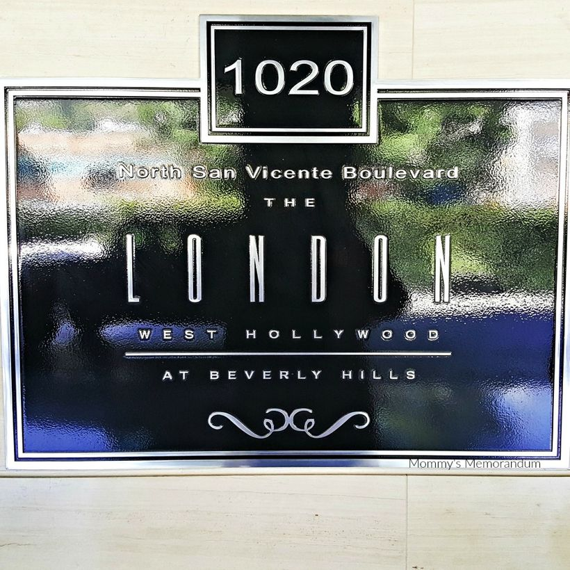 Address plaque for the London Hotel, West Hollywood