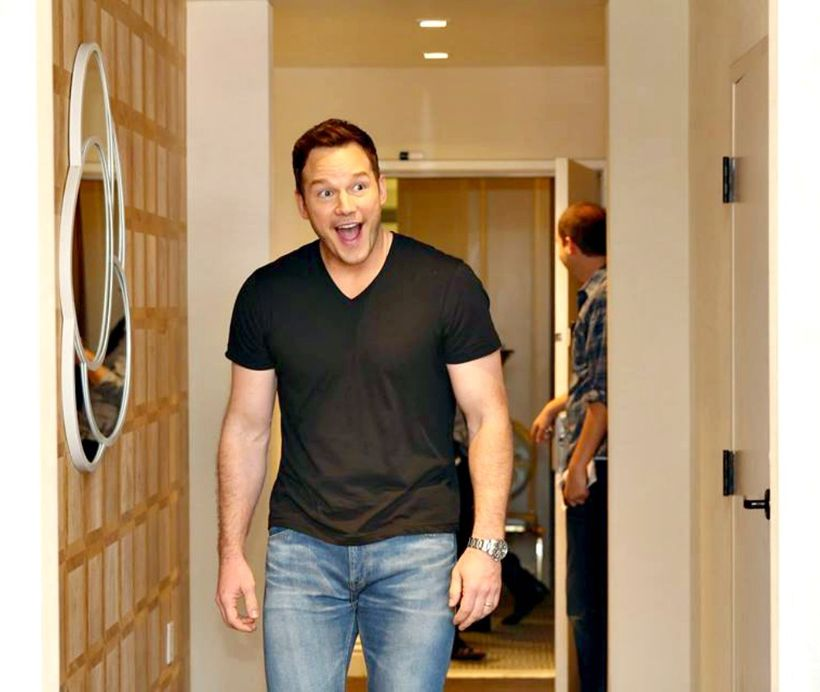 Chris Pratt enters the room at The London Hotel, West Hollywood