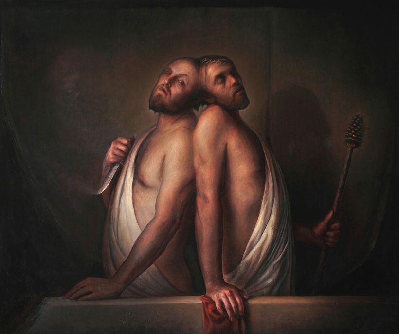 """<em>""""Craniopagus"""", oil on canvas, 50"""" x 60""""</em>"""