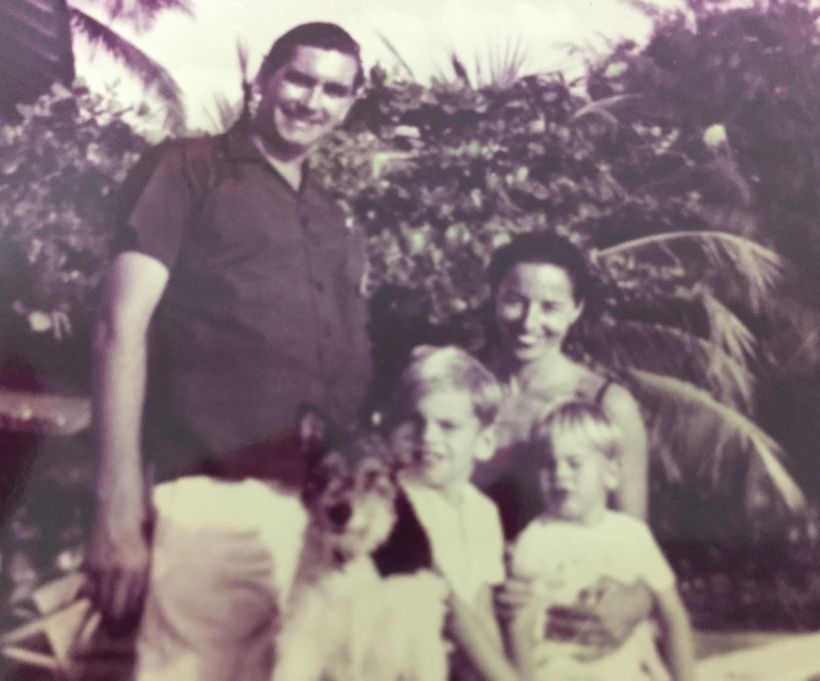 <em>Vintage family photo 1960's with 'Budge,' Cynthia, Patrick, Mark and the family terrier, Cindy.</em>