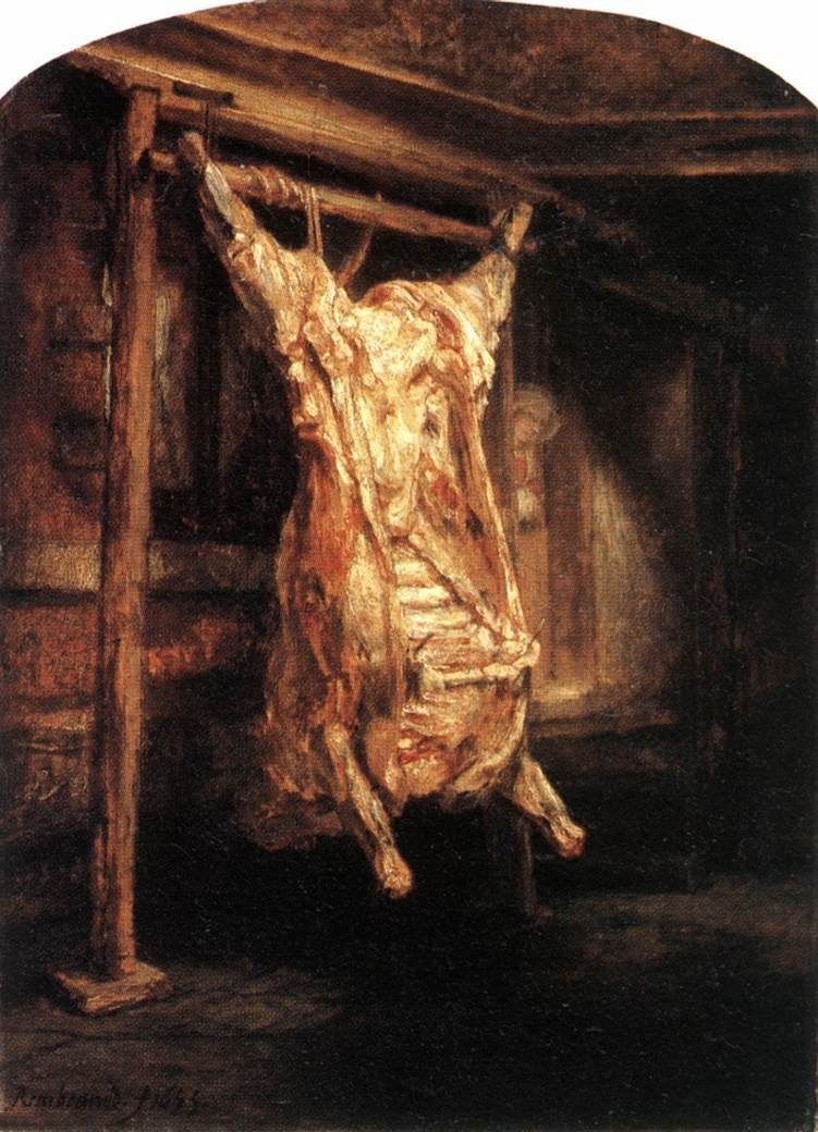 <em>The Flayed Ox</em>, 1655, oil on beech panel, Height: 94 cm Width: 69 cm. Collection: The Louvre, Paris