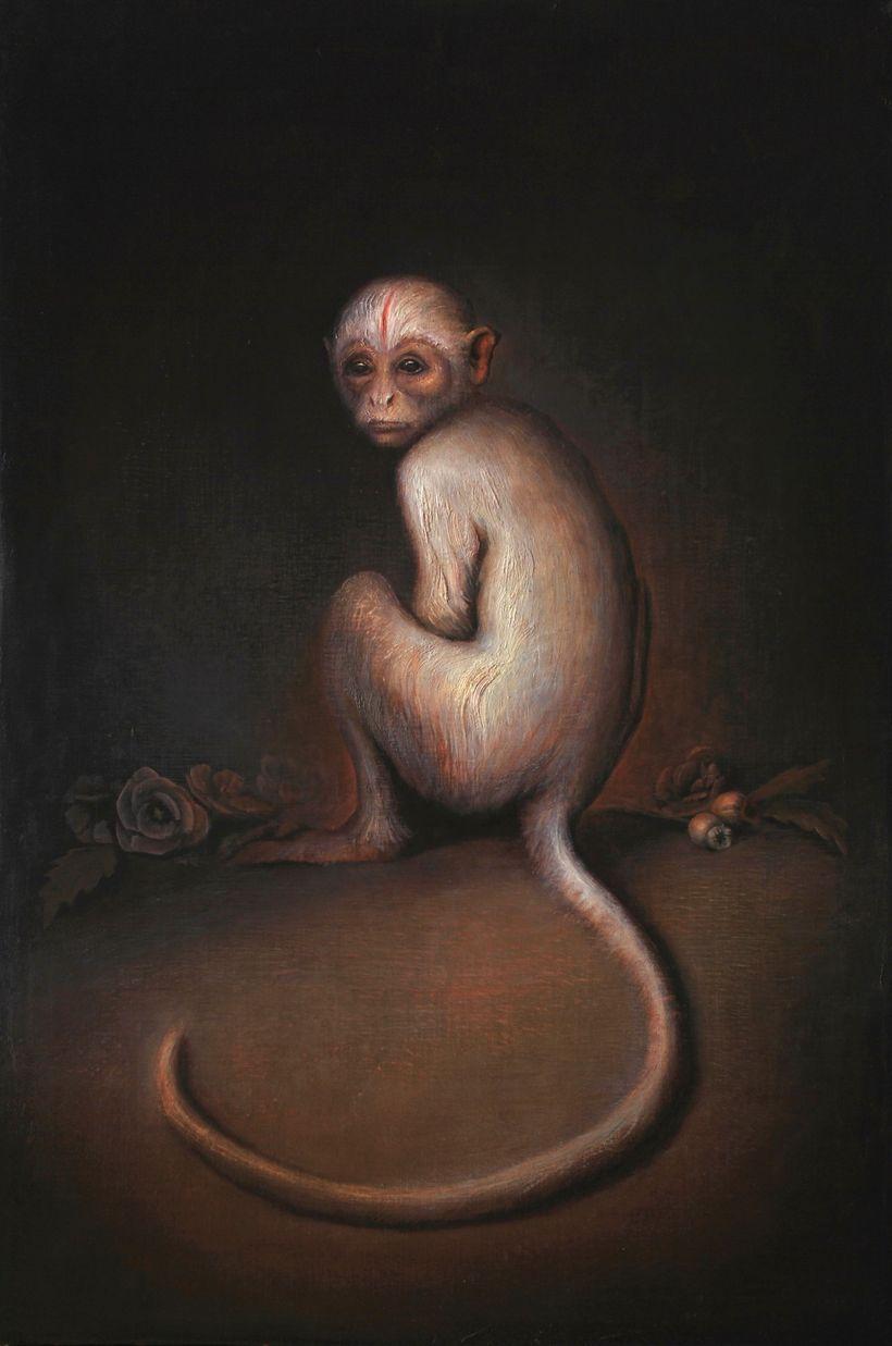 "<em>""Monkey"", oil on canvas, 36"" x 24""</em>"