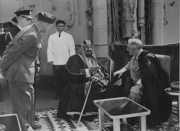 Franklin D Roosevelt and King Ibn Saud of Saudi Arabia at Great Bitter Lake in Egypt in February 1945 (Wikicommons)