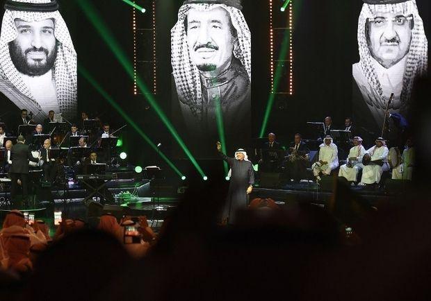 Saudi singer Mohammed Abdu - known as Saudi's 'Paul McCartney - performs in Riyadh in March 2017 with Mohammed bin Salman, Ki