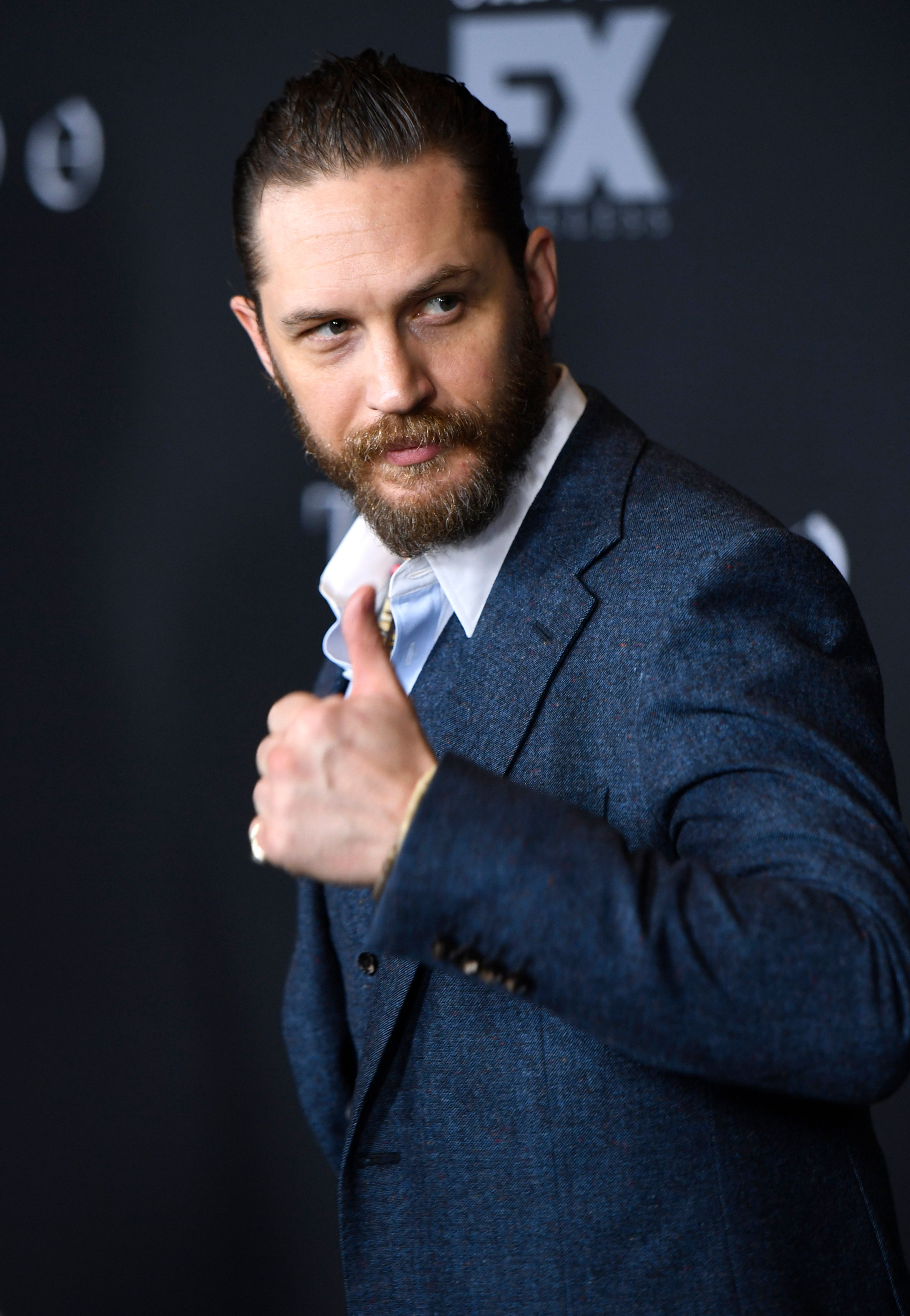 LOS ANGELES, CA - JANUARY 09:  Actor Tom Hardy attends the premiere of FX's 'Taboo' at DGA Theater on January 9, 2017 in Los Angeles, California.  (Photo by Matt Winkelmeyer/Getty Images)