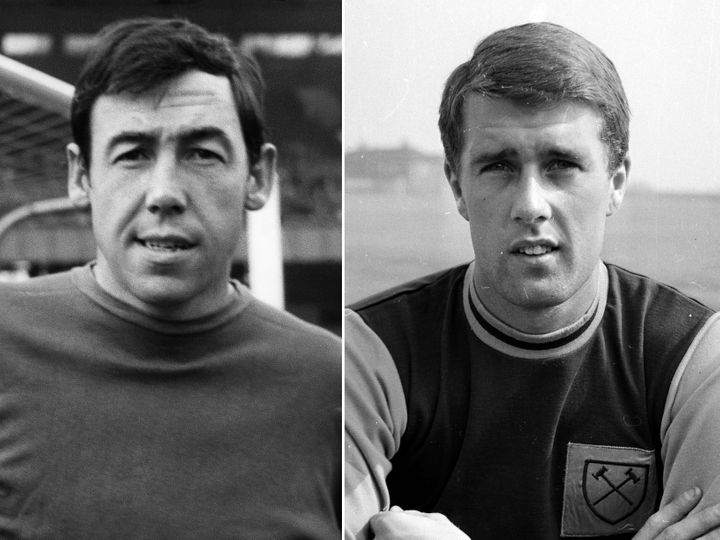 Left to right: a young Gordon Banks and Geoff Hurst.