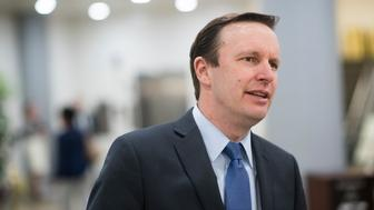 UNITED STATES - APRIL 4: Sen. Chris Murphy, D-Conn., walks to the Senate subway following a vote  on Tuesday, April 4, 2017. (Photo By Bill Clark/CQ Roll Call)