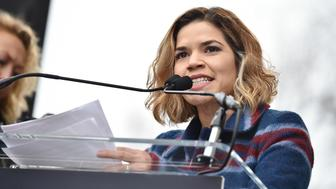 WASHINGTON, DC - JANUARY 21:  America Ferrera speaks onstage at the Women's March on Washington on January 21, 2017 in Washington, DC.  (Photo by Theo Wargo/Getty Images)