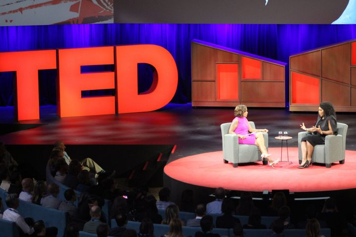 Serena Williams, right, discusses her tennis career and pregnancy with journalist Gayle King during the TED Conference o
