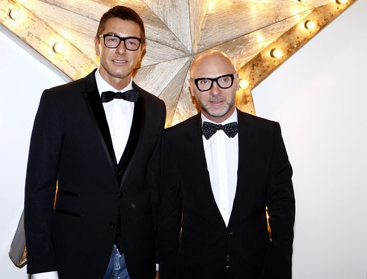 Stefano Gabbana (left) and Domenico Dolce attending a party in London.