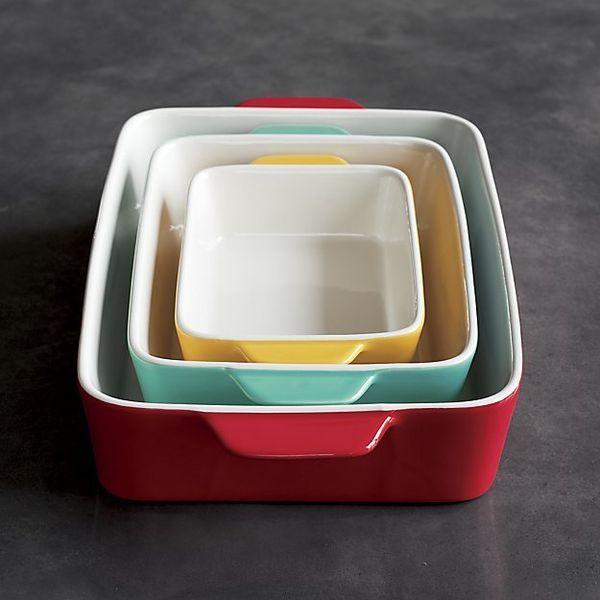"""$29.95, Crate & Barrel. <a href=""""https://www.crateandbarrel.com/set-of-3-potluck-baking-dishes/s353983"""" target=""""_blank"""">B"""