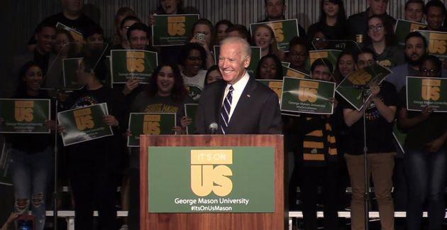 Biden speaking to students at George Mason