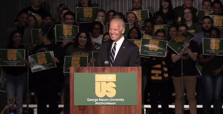 Biden speaking to students at George Mason University.
