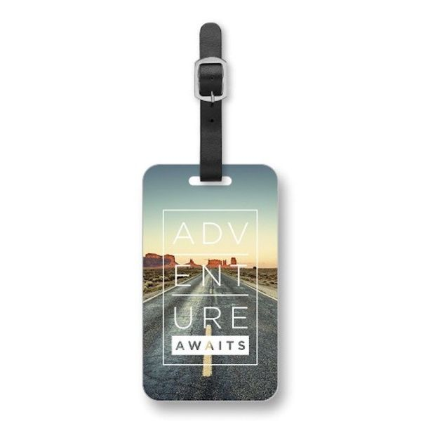 """$5.59 - $6.99, Shutterfly. <a href=""""https://www.shutterfly.com/photo-gifts/luggage-tags/adventure-awaits-luggage-tag?productC"""