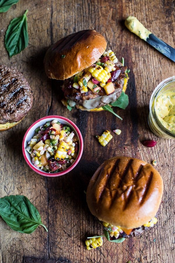 """<strong>Get the <a href=""""https://www.halfbakedharvest.com/brie-stuffed-burgers-with-sweet-chili-corn-salsa-4th-of-july-eats/"""""""