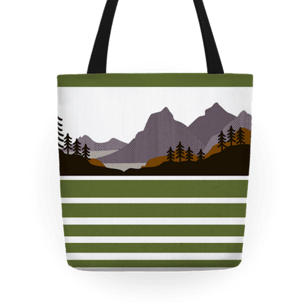 """$27.99, Look Human. <a href=""""https://www.lookhuman.com/design/70163-mountain-landscape/tote-bag"""" target=""""_blank"""">Buy here.</a"""