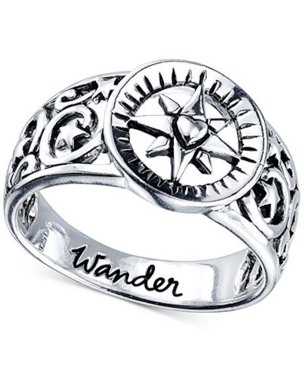 "$25, Macy's. <a href=""https://www.macys.com/shop/product/unwritten-wander-compass-ring-in-sterling-silver?ID=2953035&pla_"