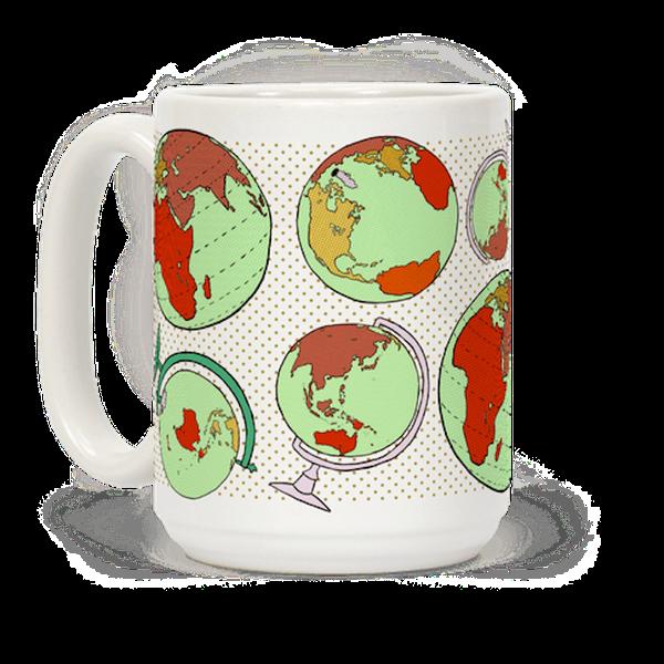 "$15.99, Look Human. <a href=""https://www.lookhuman.com/design/89270-wanderlust-world-globe-pattern/mug"" target=""_blank"">Buy h"