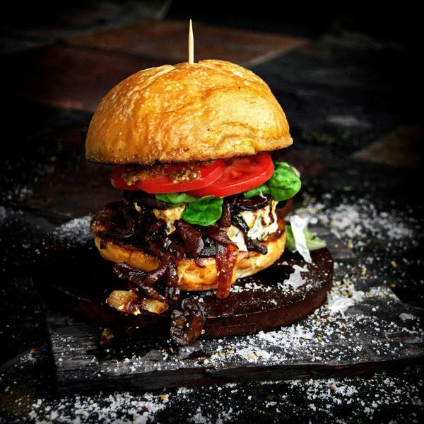 """<strong>Get the <a href=""""http://abachelorandhisgrill.com/2014/01/swiss-steak-burgers-with-sauteed-red-wine-onions-and-garlic/"""