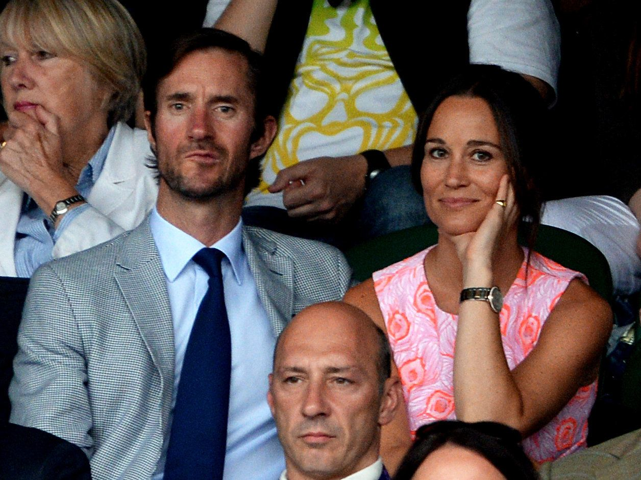 Pippa Middleton and James Matthews on day nine of the Wimbledon Championships at the All England Lawn Tennis and Croquet Club, Wimbledon.
