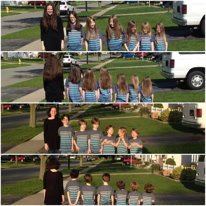 Phoebe Kannisto and her six sons grew their hair out together and donatedit to kids in need.