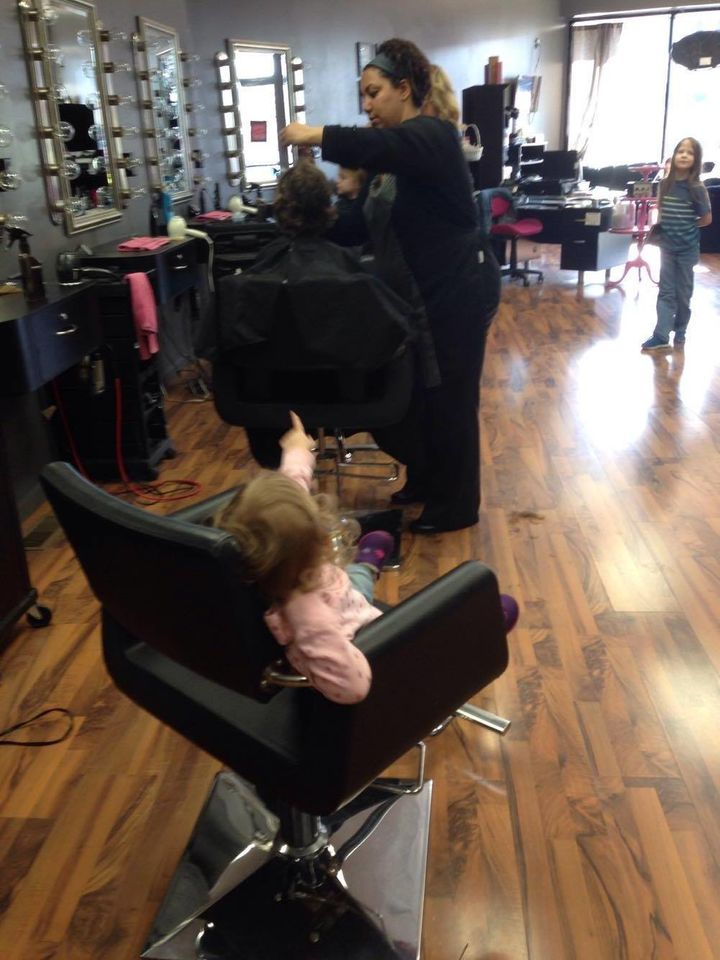 Kannisto's 2-year-old daughter, Marah Taylor, didn't have enough hair to donate, but she did get to watch her brothers get th