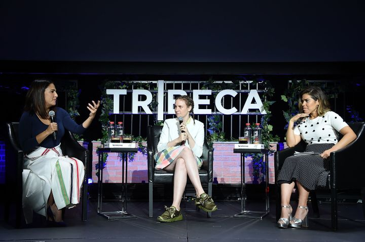 Lena Dunham in conversation with Jenni Konner and America Ferrera at the Tribeca Film Festival.