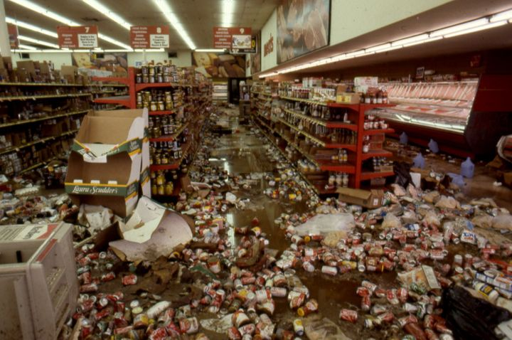 The aftermath of widespread looting at Viva Bargain Center.
