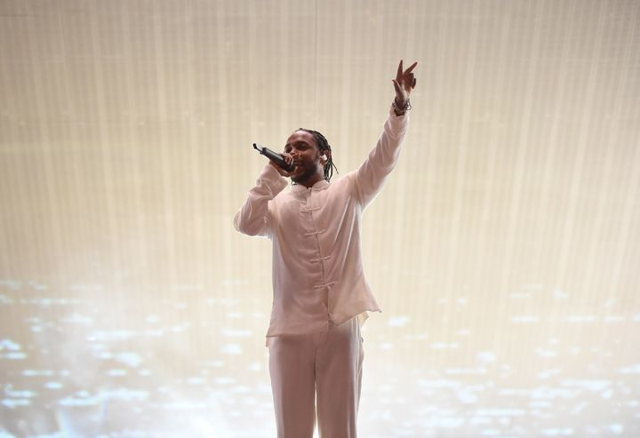 Kendrick Lamar performs at the Coachella Valley Music And Arts Festival on April 23, 2017 in Indio, California.