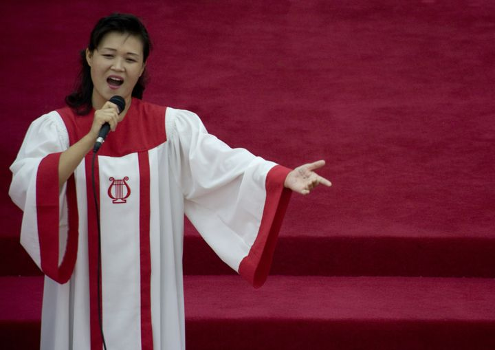 "A Protestant church in Pyongyang, North Korea -- one of four <a href=""http://www.bbc.com/news/world-asia-pacific-3374026"