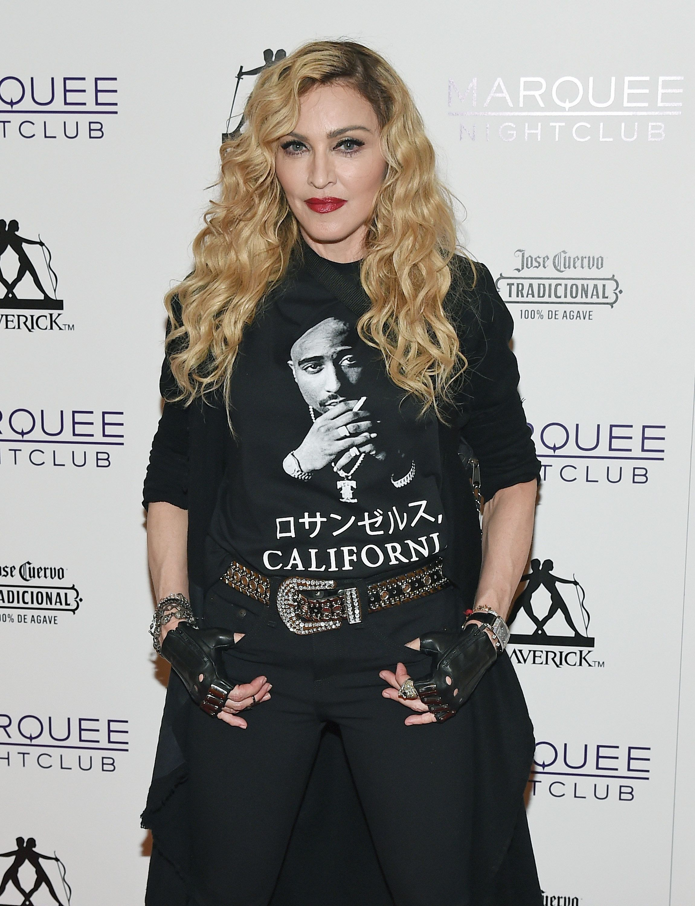 LAS VEGAS, NV - OCTOBER 25:  Singer Madonna arrives at the Marquee Nightclub at The Cosmopolitan of Las Vegas to host an after party for her Rebel Heart Tour concert stop on October 25, 2015 in Las Vegas, Nevada.  (Photo by Ethan Miller/Getty Images for ABA)