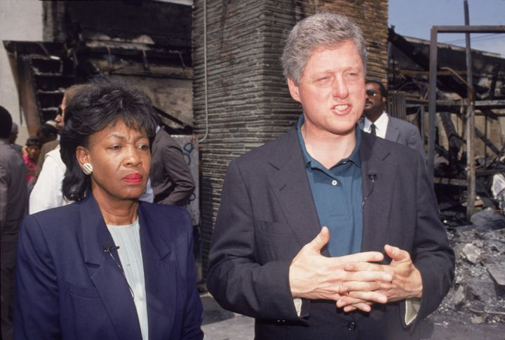 Then-Democratic presidential candidate Bill Clinton takes a tour of South Central Los Angeles with U.S. Rep. Maxine Waters on