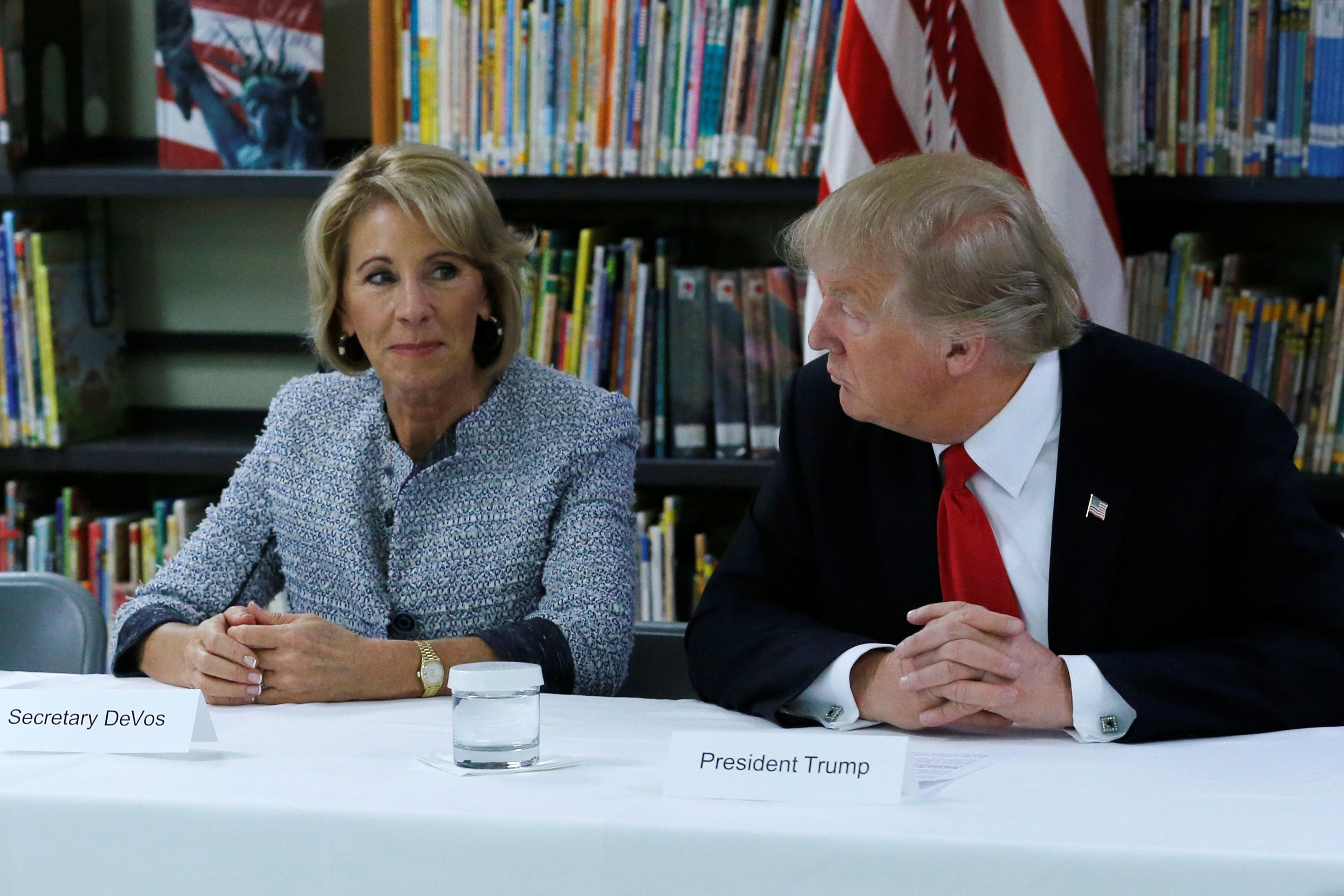 President Trump wants Education Secretary Betsy DeVos to wield less power than her immediate predecessors.