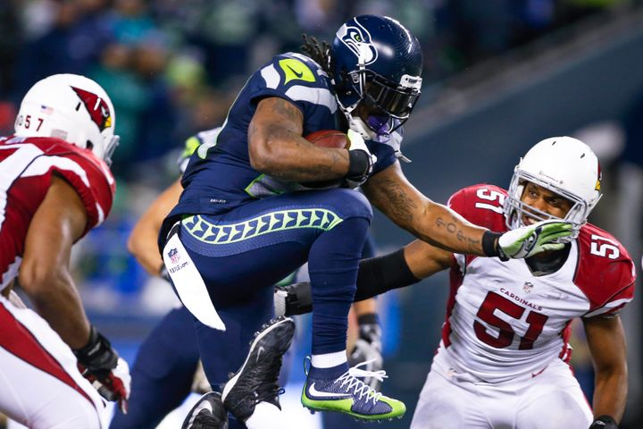 Marshawn Lynch, seen here in a November 2015 game against the Arizona Cardinals in Seattle, is finally coming home to play fo