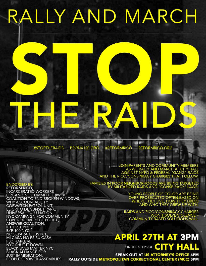 Flier for #StopTheRaids rally April 27th