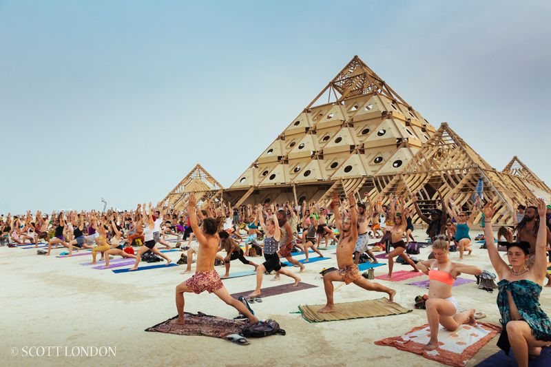 A yoga session at Burning Man