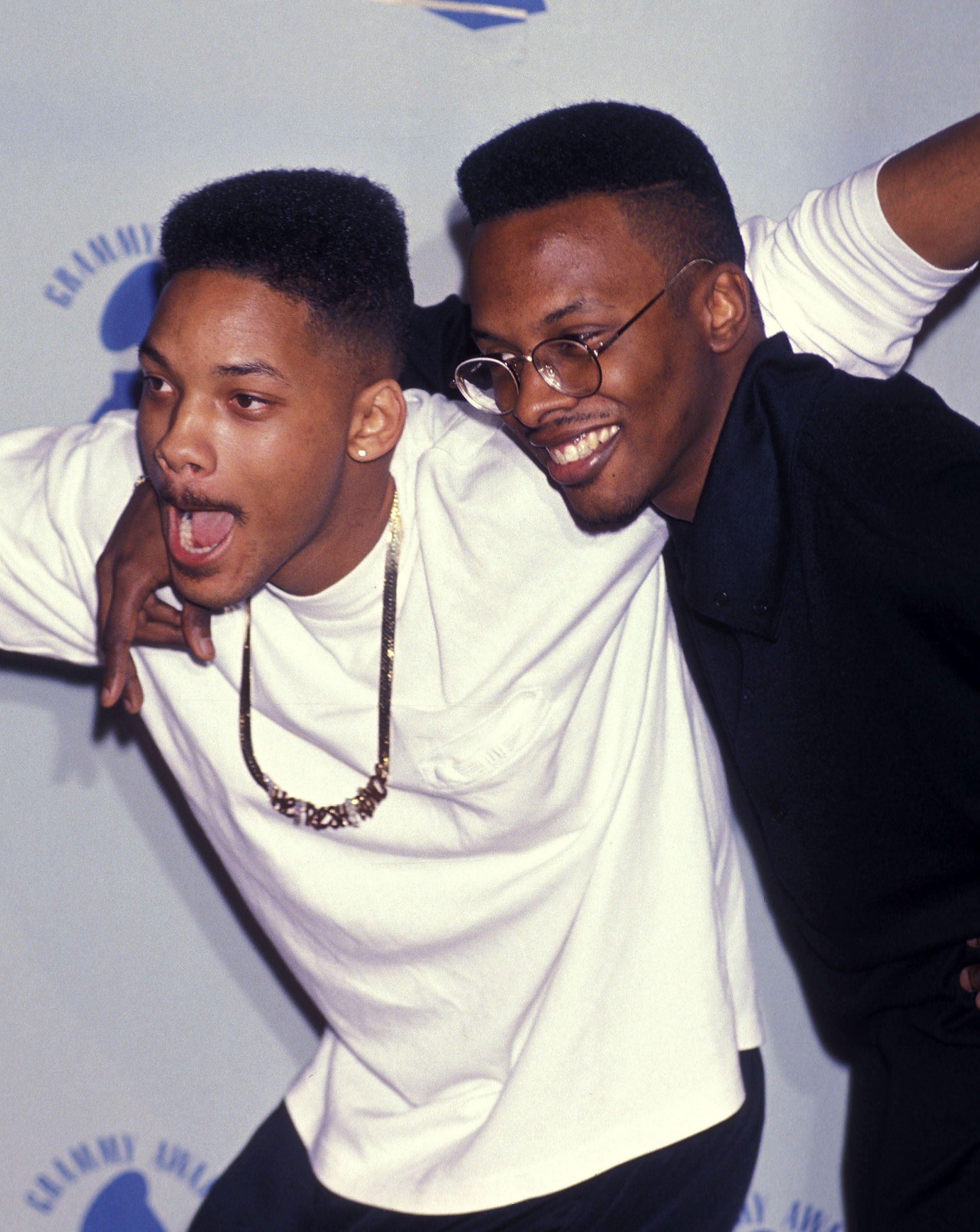 Rapper Will Smith and hip hop artist DJ Jazzy Jeff attend the 32nd Annual Grammy Awards on February 21, 1990 at the Shrine Auditorium in Los Angeles, California. (Photo by Ron Galella, Ltd./WireImage)