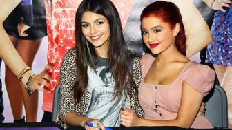 DUARTE, CA - AUGUST 13:  Actress Victoria Justice (L) and Ariana Grande attend the CD signing for 'Victorious: Music From The Hit TV Show' held at Walmart on August 13, 2011 in Duarte, California.  (Photo by Tommaso Boddi/WireImage)