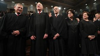 Chief Justice John Roberts (L) and Supreme Court Justices (2NL-R) Anthony Kennedy, Stephen G. Breyer, Sonia Sotomayor and Elena Kagan arrive for U.S. President Donald Trump's first address to a joint session of Congress from the floor of the House of Representatives in Washington, U.S., February 28, 2017. REUTERS/Jim Lo Scalzo/Pool