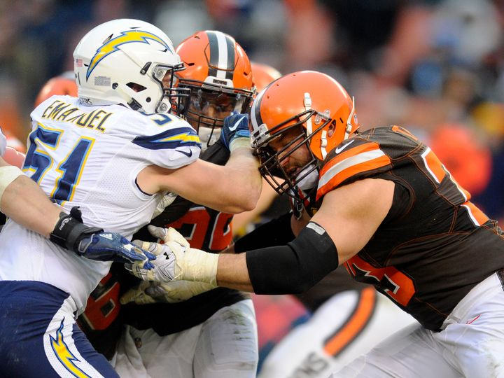 Another day on the job for the Cleveland Browns' Joe Thomas (73), who has never missed a game in 10 years.