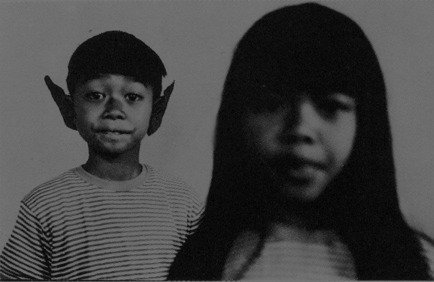 Taken in Addis Ababa in 1968 by their father, the photograph shows the artist and his sister. Tiravanija, 7 years old at