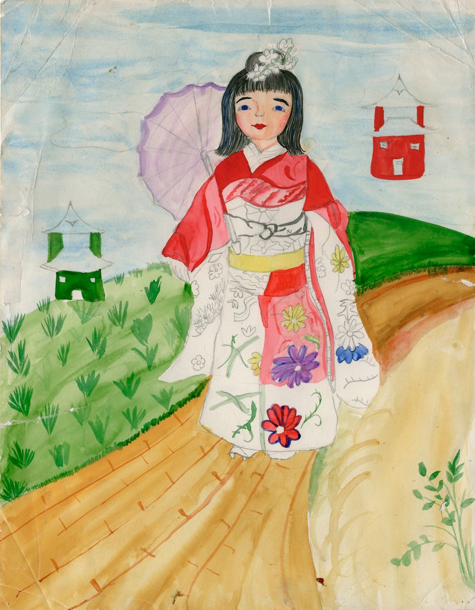 """I made this drawing when I was 10. It was part of a series of girls from around the world in native dress. My sister had it"