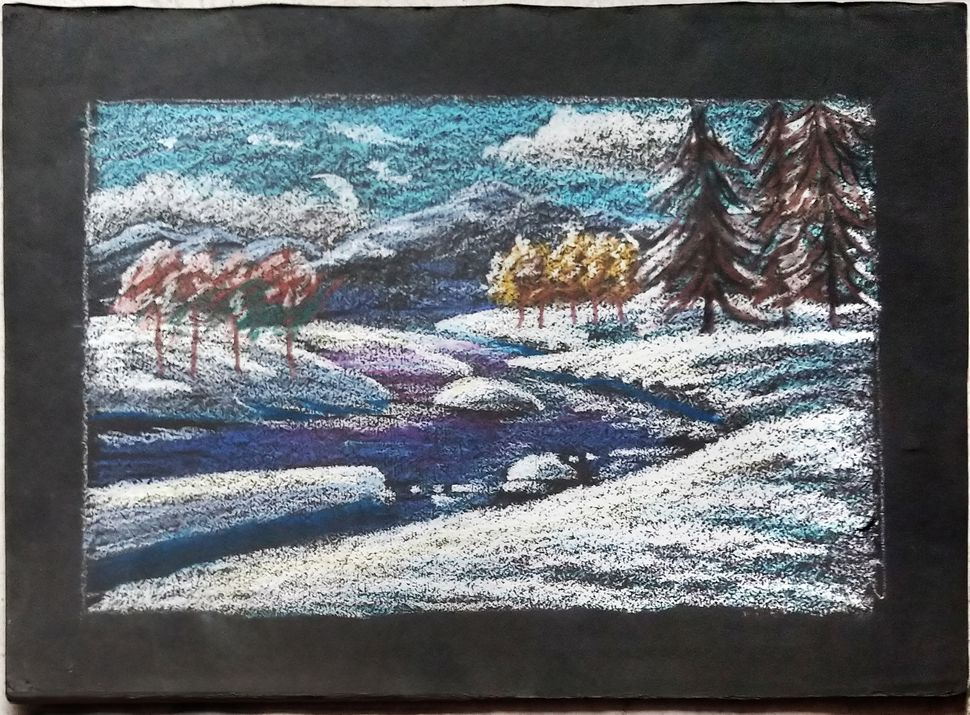 SNOWLAND, 1972 pastel drawing