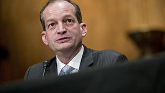 R. Alexander Acosta, U.S. secretary of labor nominee for U.S. President Donald Trump, speaks during a Senate Health, Education, Labor and Pensions (HELP) confirmation hearing in Washington, D.C., U.S., on Wednesday, March 22, 2017. Trump tapped Acosta on February 16 to replace his first nominee, CKE Restaurants Inc. CEO Andrew Puzder, who withdrew his nomination amid controversies including his past employment of an undocumented housekeeper, a domestic-abuse accusation in his divorce proceedings and alleged labor law violations at CKE's Hardee's and Carl's Jr. brands. Photographer: Andrew Harrer/Bloomberg via Getty Images