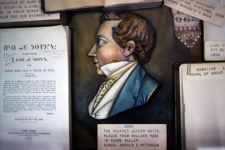 A 19th century plaque of the Mormon prophet Joseph Smith is among the historical artifacts at the Pioneer Memorial Museum in