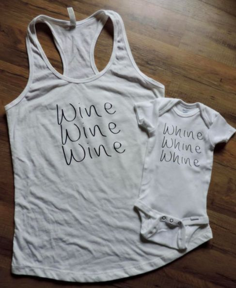 "$26, Etsy/DASH Designs 88. <a href=""https://www.etsy.com/listing/479200990/whine-vs-wine-onesie-tank-mom-and-baby?ga_order=mo"