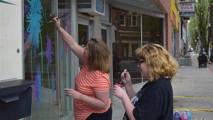Pocomoke High School teacher Brooke Gillespie and senior Rebeka Kline, who plans to study art at a local community college, d