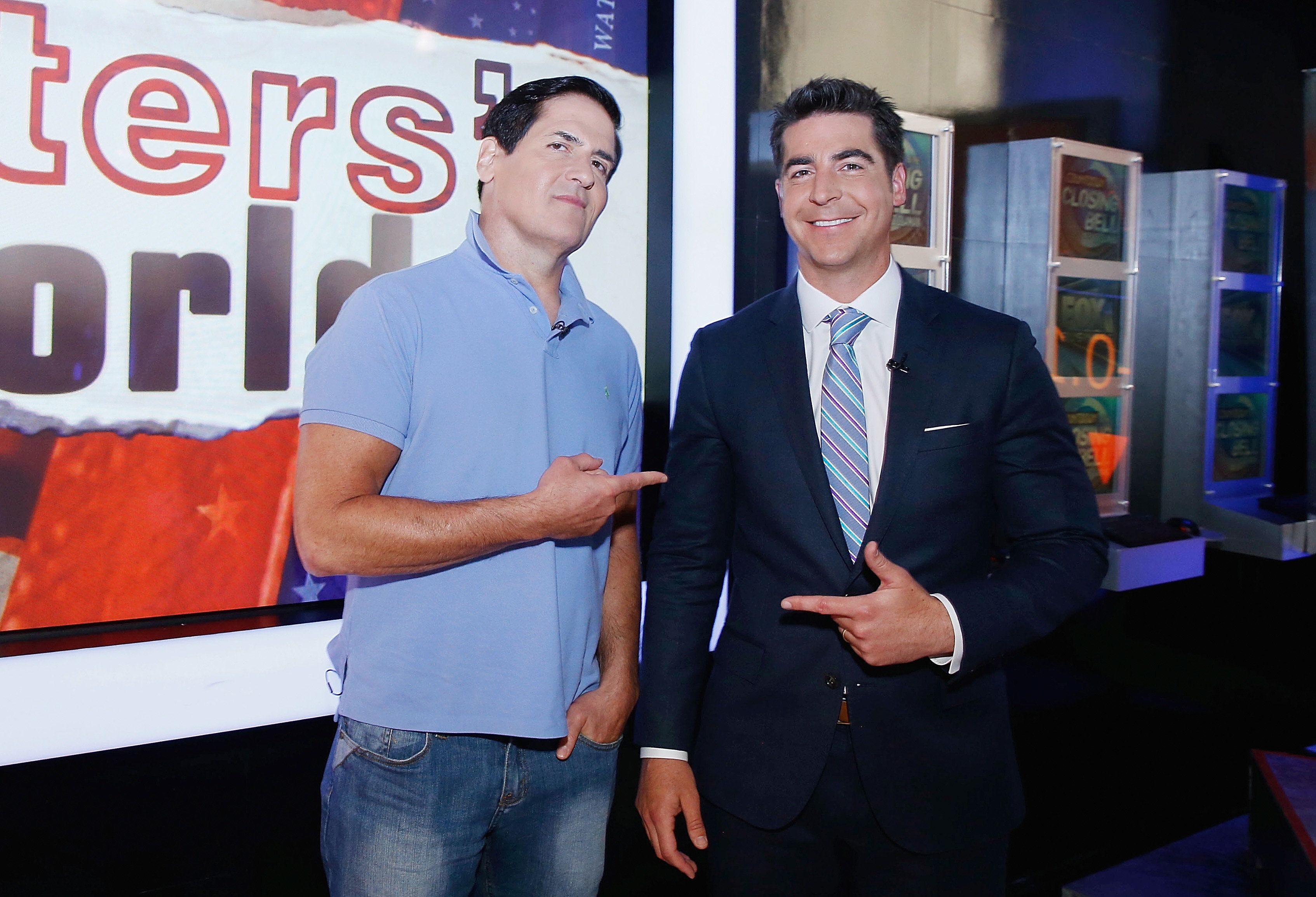 NEW YORK, NY - JUNE 09:  Fox Anchor Jesse Watters (R)   interviews Mark Cuban during Fox News Channel's 'Watters' World' at FOX Studios on June 9, 2016 in New York City.  (Photo by John Lamparski/Getty Images)