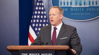 White House Press Secretary Sean Spicer delivered the press briefing in the James S. Brady Press Briefing Room of the White House, on Monday, April 24, 2017. (Photo by Cheriss May) (Photo by Cheriss May/NurPhoto via Getty Images)